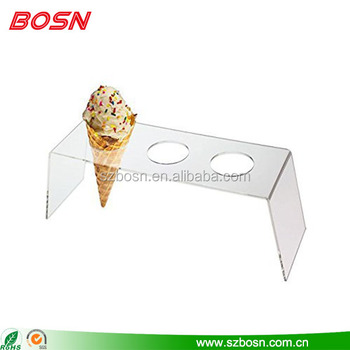 Premium Frosted Acrylic Ice Cream Snow Cone 3 Hole Display Stand Holder