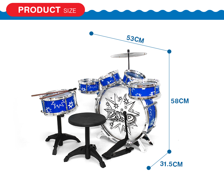 Children love musical instrument rolling acoustic drum set with good price