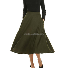 Fashion Skirts Pictures Of A-Line High Waisted Solid Color Swing Design Full Length Double Side Office Skirt Designs