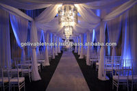 soft and light-through chiffon curtain lining and pole for wedding decoration