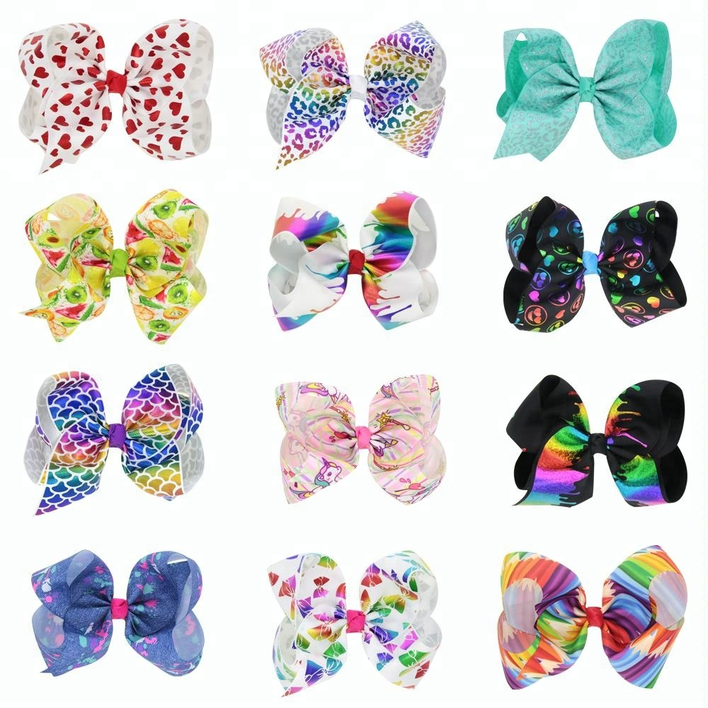 Hair Accessories Wholesale Big Baby Kids 7.5 Inch Hair Bows With Clips