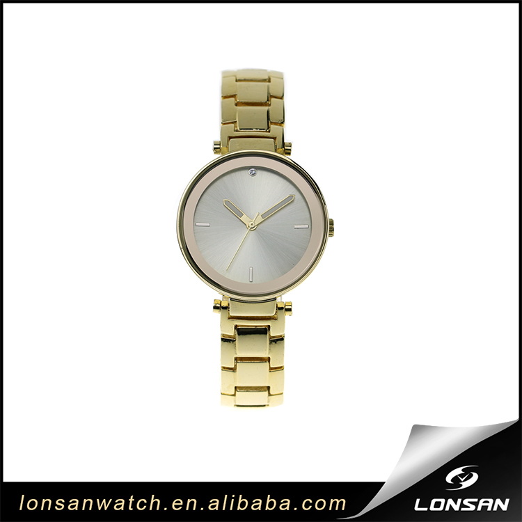 Gold Alloy Case and Band Dome Sapphire Crystal Watch Glass Lady Wrist Quartz Watch