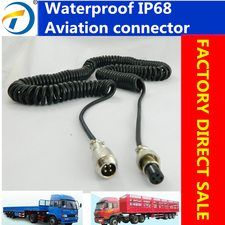 china top brand direct supply spring cable with 4pin aviation connector