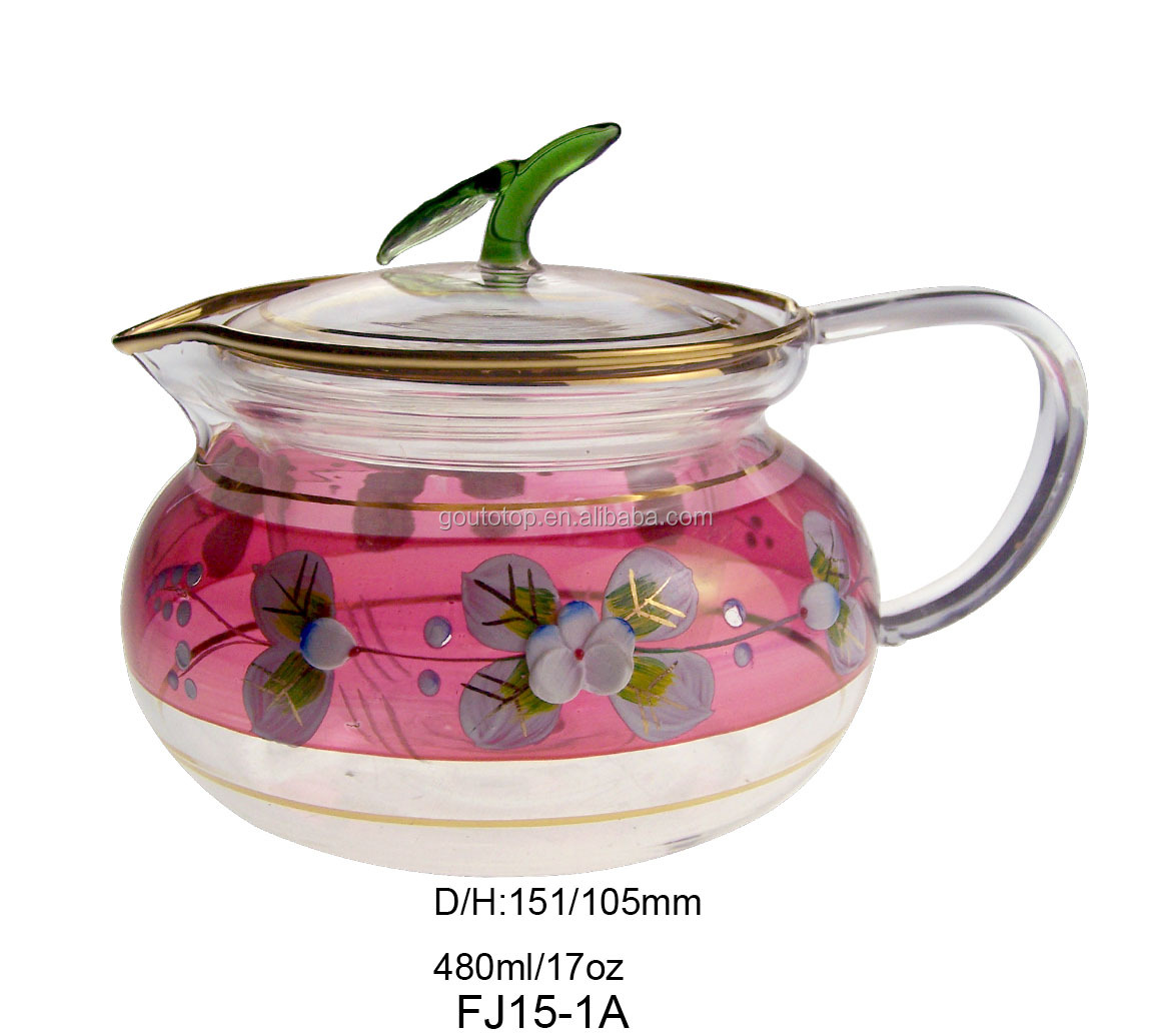 Cheap heat resist glass tea pot 100% purity gold hand painted glass pot