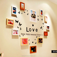 Heart shaped wood picture frame wall 12 frames with clock