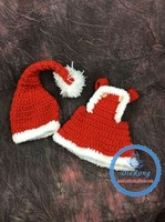 In stock Hot baby girls boys Christmas hat set infant crochet santa hat with clothes photo prop set