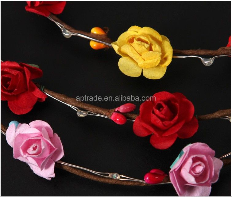 Top Selling Luminous wreath hairband headd Artificial BerryWreath Bridal Wedding Flower Garland for Wedding Decorations
