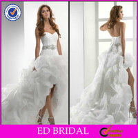 2014 New Design Sexy Short Front Long Back Wedding Dress