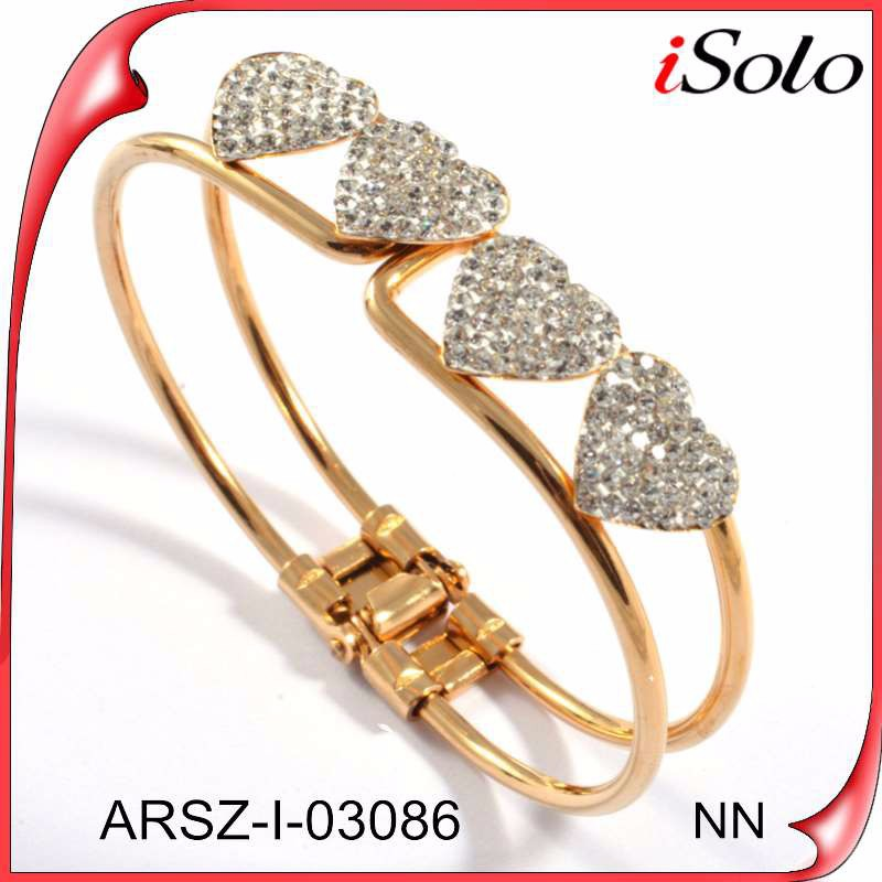 Newest!! gold plated diamond studded gold bangle bracelet with diamond heart