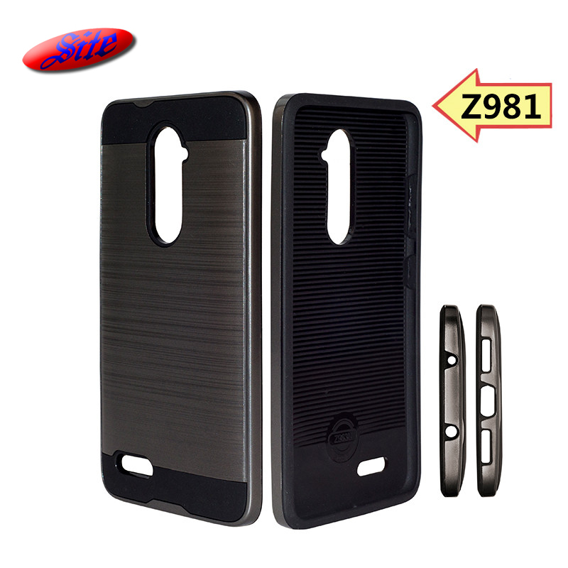 Fancy design brushed metal hair line cell phone case for Z981, Combo phone cover for Z981