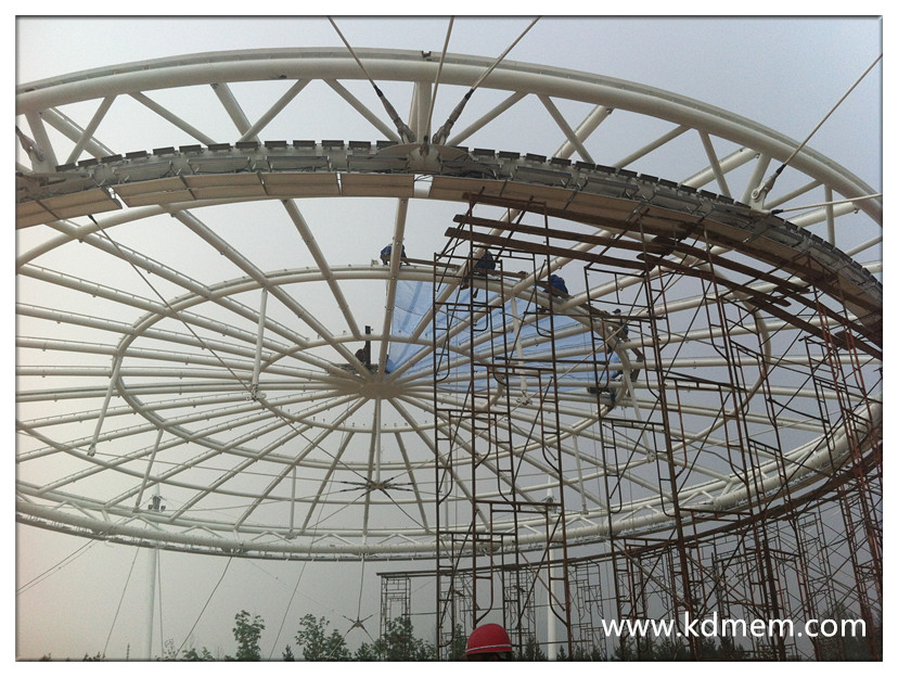 ETFE and PTFE tensile membrane and steel fabric structure for hotel