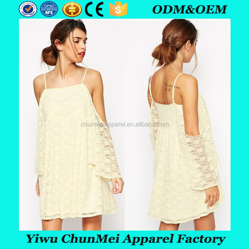 clothes women ladies new arrival lace hollow hook flowers crochet lace trumpet sleeve harness dress for women