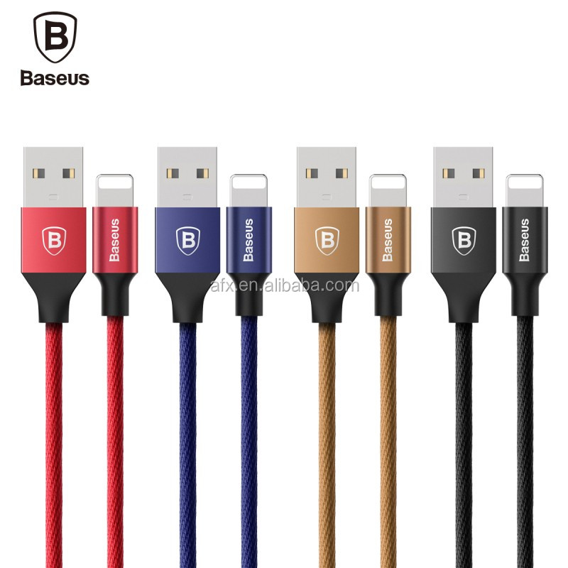 Original Baseus Yiven Series 0.6M/1.2M/1.8M/3M 2A Aluminium+Cloth Data Cable For iPhone 7/7S 3m Quick Charger Cable Yiven Series