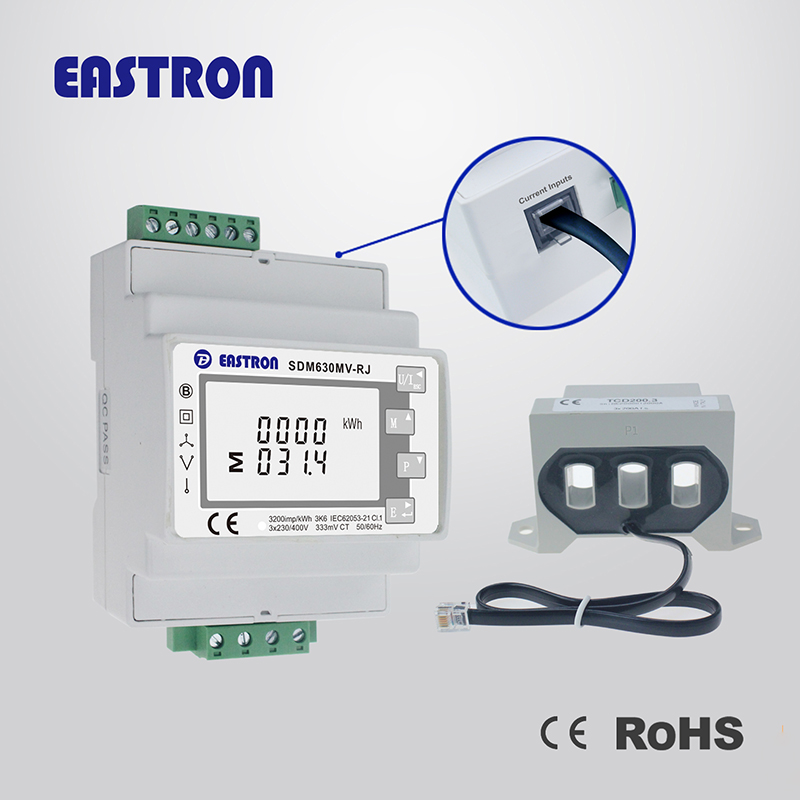 SDM630MV-RJ Top Quality 3 phase Multifunction Energy Meter, Easy Wiring with RJ12 CT , LCD Digital Meter, 100mA, 333mV, Modbus