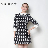 lovely cat pattern printed middle sleeve peter pan collar designed latest autumn women casual one piece dress in floral print