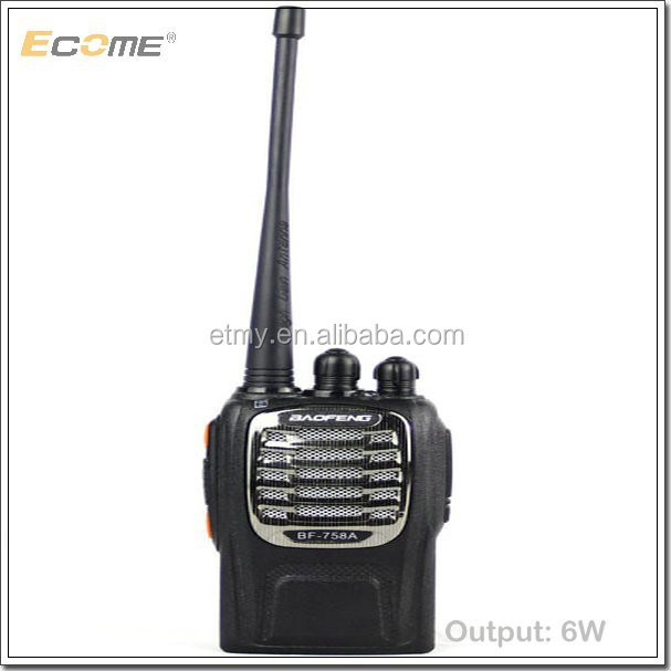 Hot Ecome baofeng walkie talkie BF-758A with 6W two way radio for policy