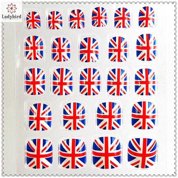 nail art uk flag design fake nail tips