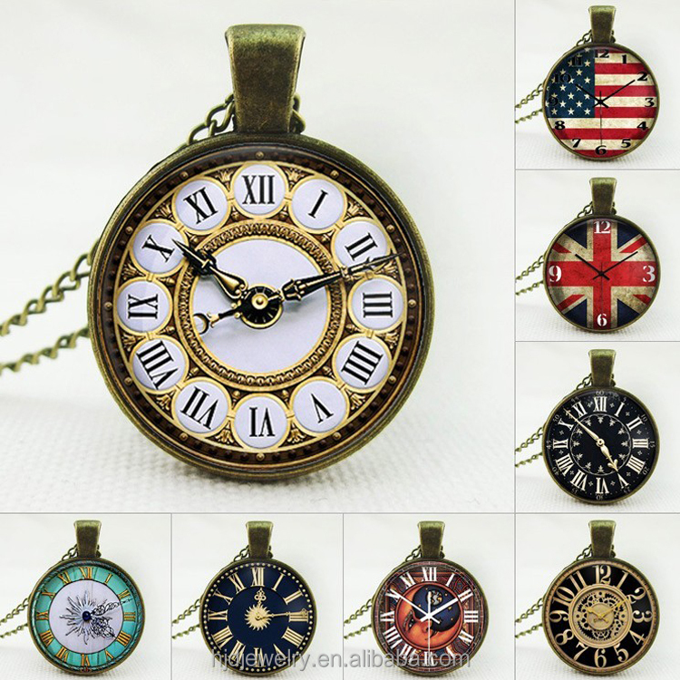 Wholesale customized national flag pocket watch necklace