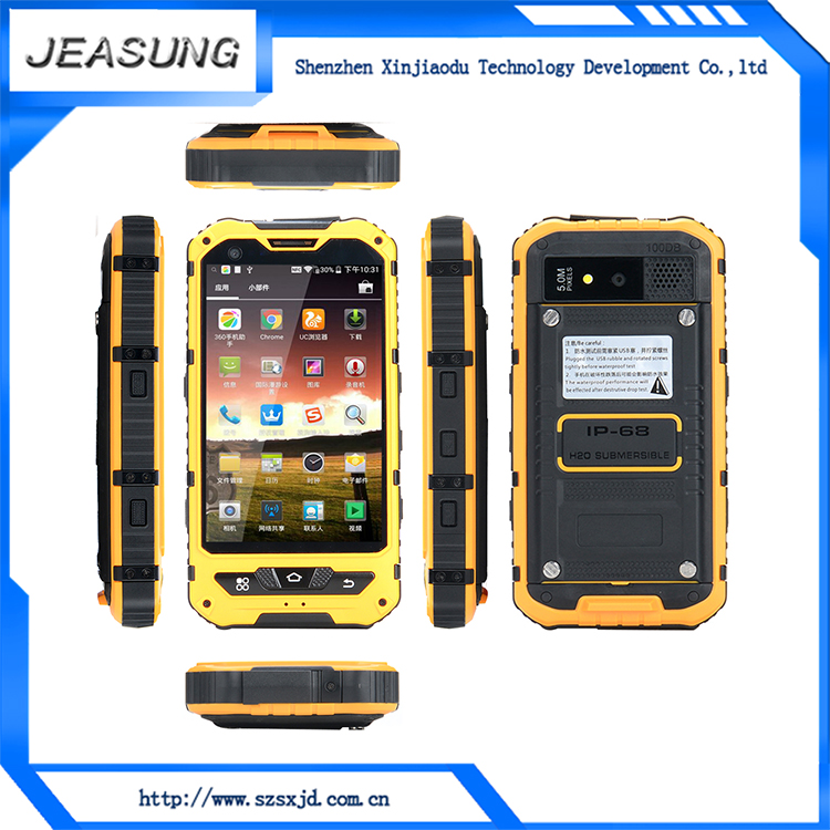 low price china mobile phone MTK6572 1.2GHz dual core IP68 Waterproof Dustproof rugged phone A8 with NFC
