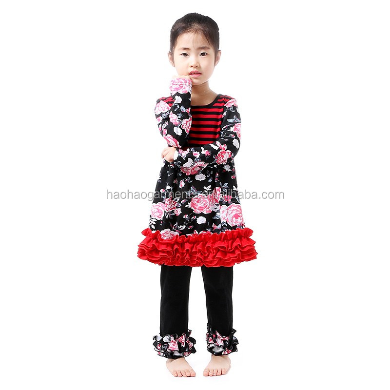 High Quality Sweet Kids Winter Ruffle Outfits Suit Wholesale Children's Boutique Baby Clothing