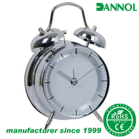 "4"" guangzhou factory wholesale pretty advertising gift double bell desk alarm clock"