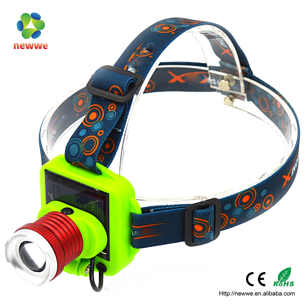 1T6 LED high brightness solar pannel usb charging big beam 90 adjustment zoom headlight rechargeable head lamp