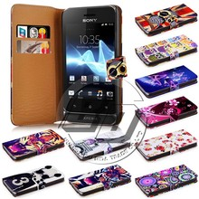 wallet cell phone case printed pu leather flip case for sony xperia tipo st21i