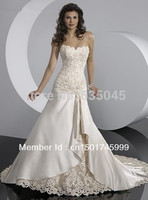 2015 Custom Made Ivory/White Applique Beading Lace Wedding Dress Bridal Gown Wedding Gowns
