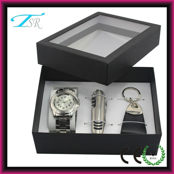 2014 Corporate gift set with watch, key chain and knife pack in nice quality box