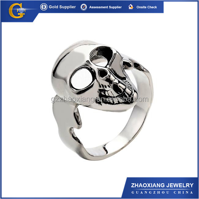 RR0118 HOT SALE new products 2015 trendy stainless steel jewlry silver skull ring for men