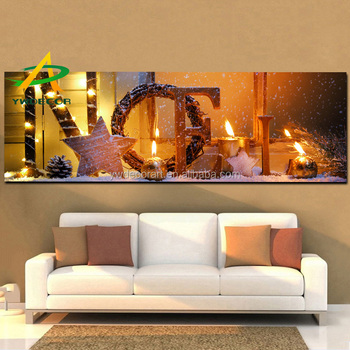 New Candle Canvas Painting Decoration With LED lights Light Up Christmas Fabric Art Painting