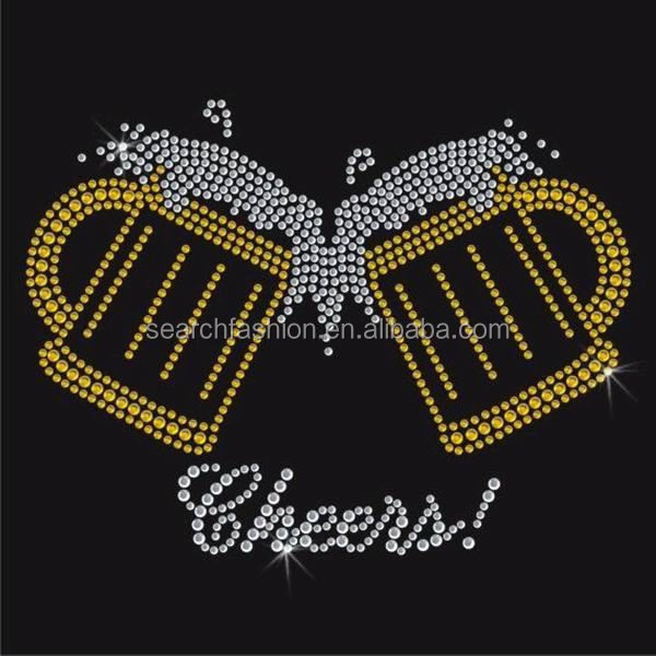 cheers design heat transfer rhinestones and rhinestuds