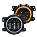 "New products 30W 4"" led fog lamps yellow turn light 4 inch led fog light for Jeep Wrangler with angel eyes"