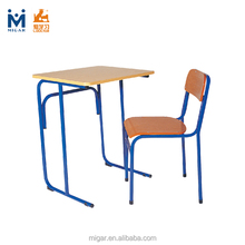 Student desk and chair set in iron tube frame and plywood table top seat and back HY-0228