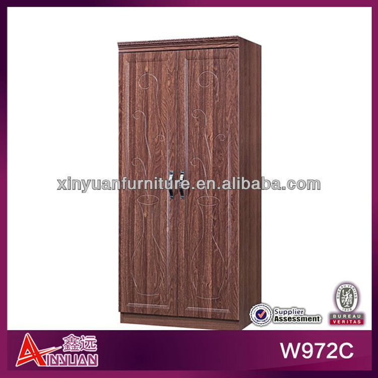 W972C China Lecong 80*50*200cm small 2 door brown bedroom wardrobe design