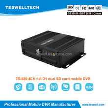 4ch real time mobile dvr player with H.264 Compression 3G mobile dvr with GPS google map tracking remote oil&power cutfoff MDVR