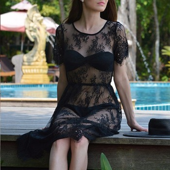 Top Sale Sexy See-Through Lace Night Wear Dress