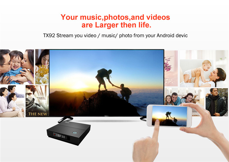TX92 android tv box 1tb hdd media player Android 7.1 S912 3G 64G