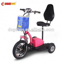3 wheels powered 2 wheel self balancing electric vehicle with front suspension for adult