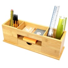 Natural Wide <strong>Bamboo</strong> Desk Organizer <strong>Pen</strong> <strong>Holder</strong> with Drawer