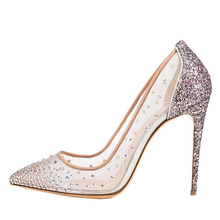 New popular transparence mesh fabric for shoes lady high heel rhinestone sandals wholesale