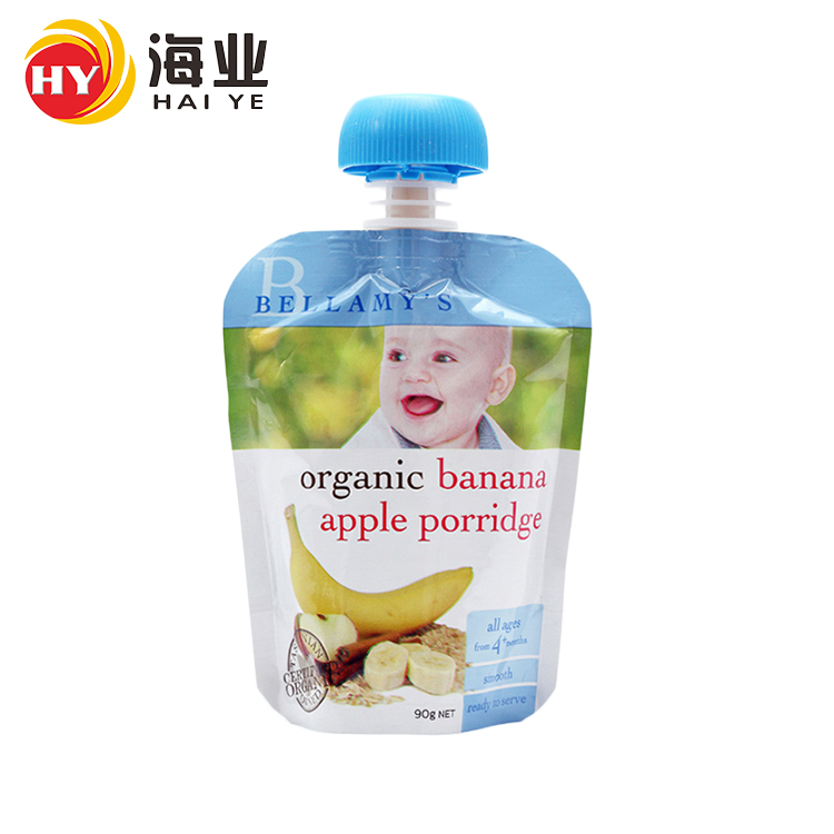 Fruit juice stand up packaging bag pouch doypack juice baby food packing bag with spout