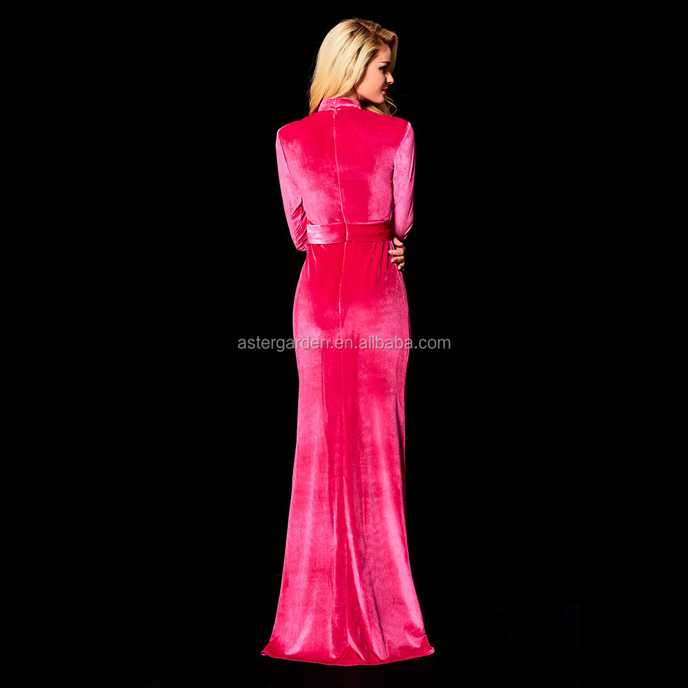 OEM 2018 New style high-necked prom dress sexy perspective grenadine velvet evening dress