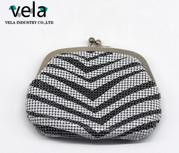 New fashion Aluminum mesh Evening Metal frame bag with Black and gold zebra printing