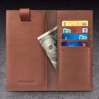 QIALINO Handmade Genuine Leather Mobile Phone Wallet For iPhone 6 Plus with pouch function