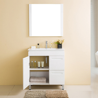 Floor Standing 1 Doors 2 Drawers Furniture Bathroom Vanity Set With Mirror Cabinet