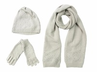White Winter Quality Wool Cashmere Beads Sequins Studs Rhinestone Warm Knit Female Scarf Shawl Muffler Fringerless Glove Hat
