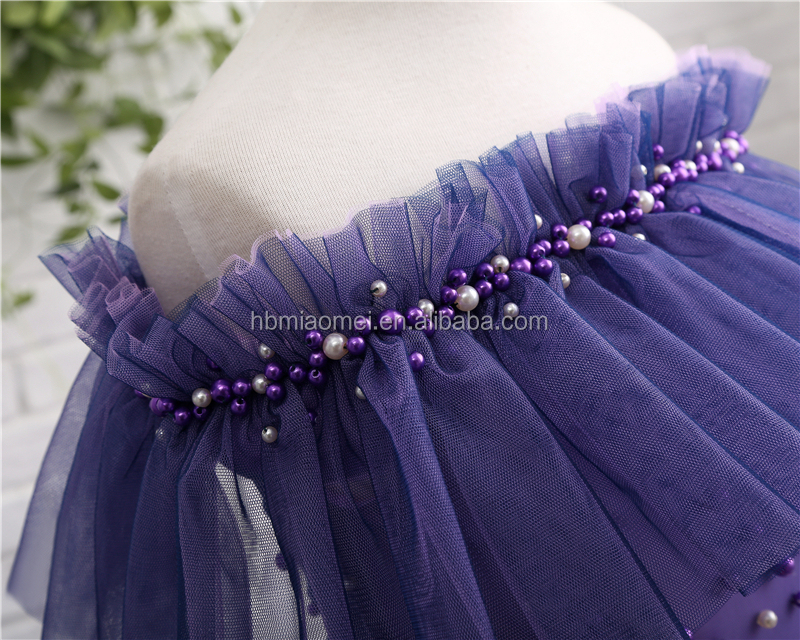 2017 factory supply one word shoulder purple color wedding dress girls wholesale