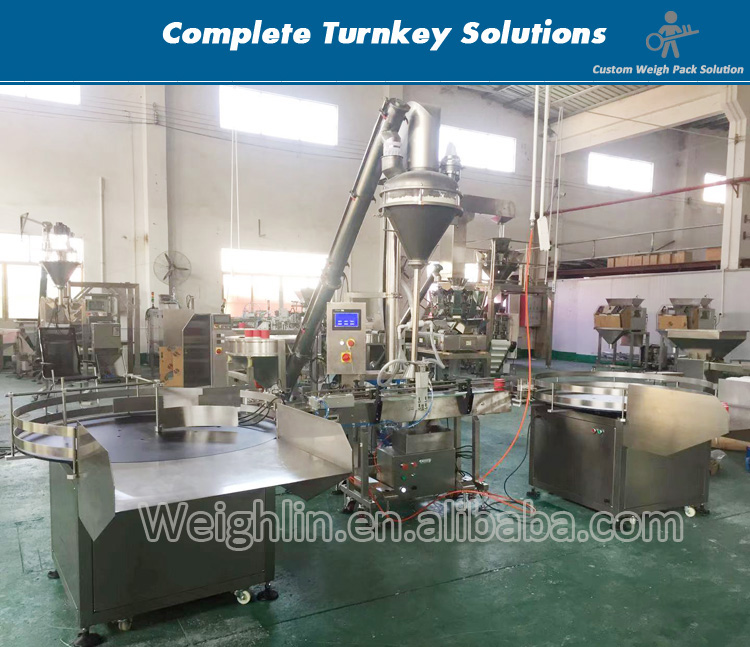 Auger filling packaging machine with screw conveyor for power flour packing in bottle and cup