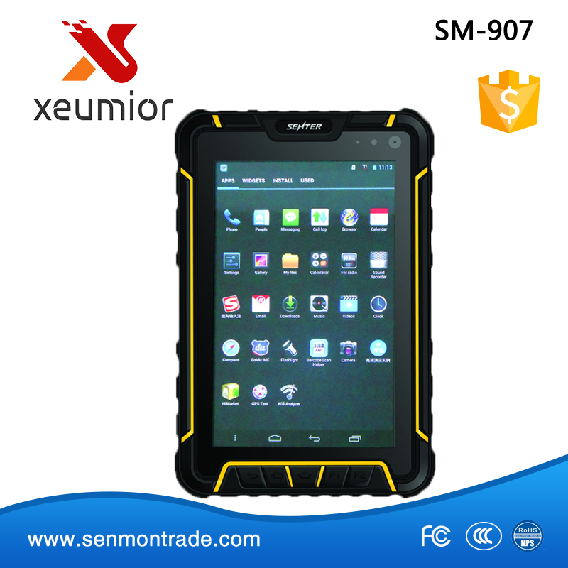 SM-907: 8Mp Camera 7 inch Android 4.4 IP67 Rugged Handheld computer 2D Barcode Scanner Biometric Fingerprint Reader with Gprs 4G